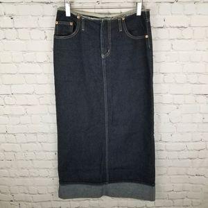 MANAGER   long high slit cuffed denim skirt